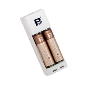 沣标(FB) 两槽迷你标准充电套装 USB充电器配AA/5号1000毫安