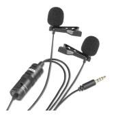 博雅 BY-M1DM麦克风双咪头全向电容式领夹麦克风采访录音单反微单 手机直播一拖二 话筒  黑色