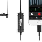 BOYA BY-DM1博雅领夹麦克风手机直播电容胸麦采访收音麦小蜜蜂便携直播有线话筒录音lightning接口